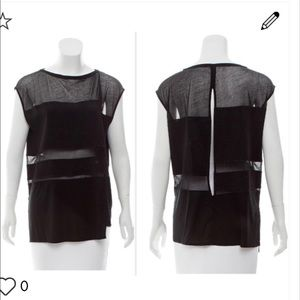 Helmut lang Black Mesh sheer panel top blouse